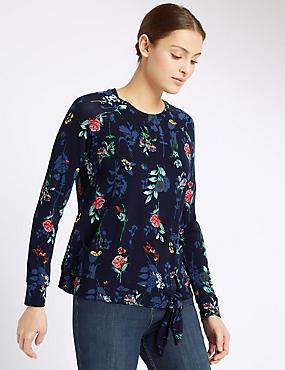 Raglan Floral Print Long Sleeve T-Shirt, NAVY MIX, catlanding