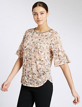 Cotton Blend Floral Print T-Shirt, MULTI, catlanding