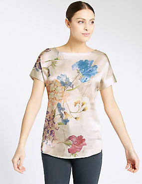 Floral Print Short Sleeve T-Shirt, GOLD MIX, catlanding