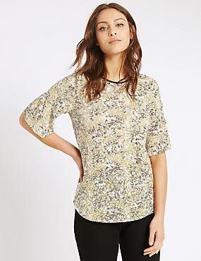 Floral Print Half Sleeve T-Shirt, MULTI, catlanding