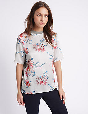 Floral Print Half Sleeve Jersey Top, IVORY MIX, catlanding