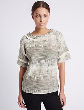 Fringe Detail Short Sleeve T-Shirt, IVORY MIX, catlanding
