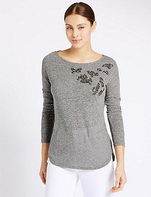 Printed Slash Neck Long Sleeve T-Shirt, GREY MIX, catlanding