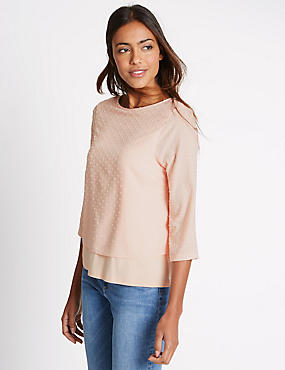3/4 Sleeve Jersey Top, BLUSH, catlanding