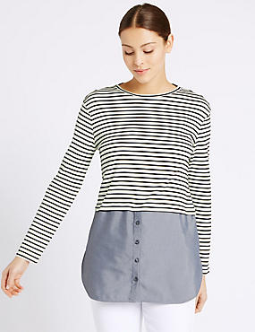 Pure Cotton Striped Long Sleeve T-Shirt, NAVY MIX, catlanding