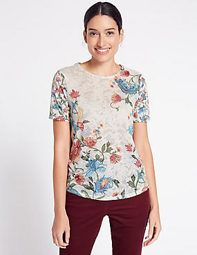 Burnout Floral Print Short Sleeve T-Shirt, IVORY MIX, catlanding