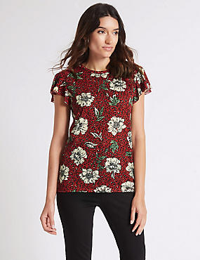Floral Animal Print Frill Sleeve T-Shirt, NAVY MIX, catlanding