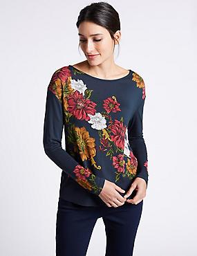 Floral Print Embellished Long Sleeve T-Shirt, NAVY, catlanding