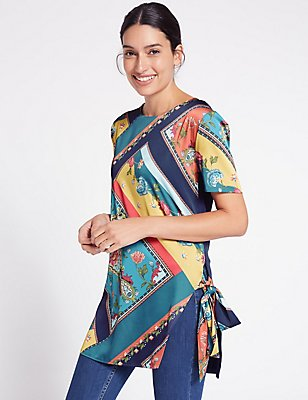 Satin Printed Tie Side Short Sleeve Tunic, BLACK MIX, catlanding