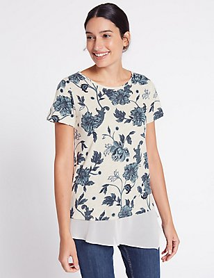 Cotton Blend Floral Print T-Shirt, IVORY MIX, catlanding