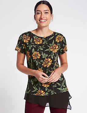 Cotton Blend Floral Print T-Shirt, RED MIX, catlanding