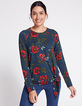 Floral Print Tie Front Long Sleeve T-Shirt, NAVY MIX, catlanding
