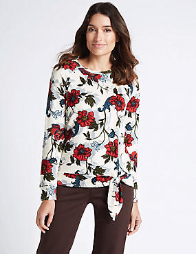 Floral Print Tie Front Long Sleeve T-Shirt, IVORY MIX, catlanding