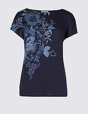 Floral Print Satin Front T-Shirt, NAVY MIX, catlanding