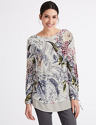 Embellished Front Floral Long Sleeve T-Shirt , IVORY MIX, catlanding