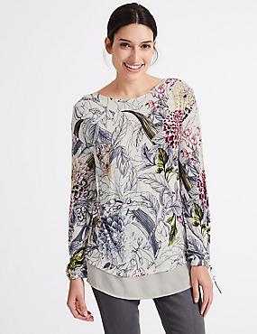 Embellished Front Floral Long Sleeve T-Shirt , IVORY MIX, catlanding