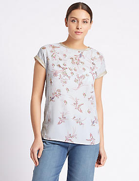 Floral Print Short Sleeve Jersey Top, GREY MIX, catlanding