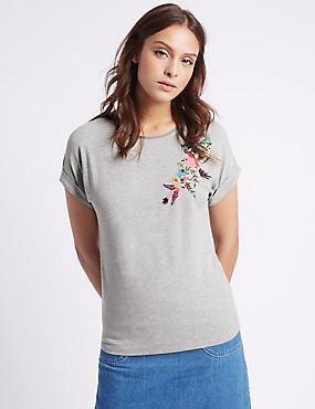 Bird Embellished Short Sleeve T-Shirt, GREY MIX, catlanding