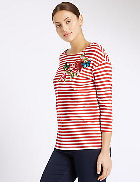 Embroidered Striped 3/4 Sleeve Jersey Top, RED MIX, catlanding