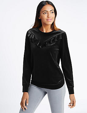 Velvet Ruffle Long Sleeve Sweatshirt, BLACK, catlanding