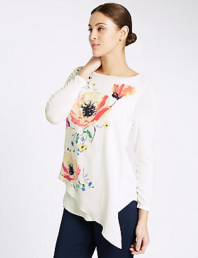 Printed Long Sleeve Jersey Top, IVORY MIX, catlanding