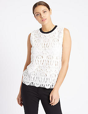 Lace Front Contrasting Neckline Shell Top, IVORY, catlanding