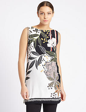 Leaf Print Slash Neck Sleeveless Tunic, IVORY MIX, catlanding