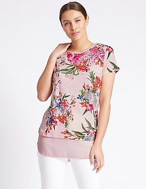 Floral Print Short Sleeve Jersey Top, PINK MIX, catlanding