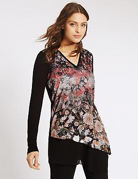 Floral Print V-Neck Long Sleeve Jersey Top, BLACK MIX, catlanding