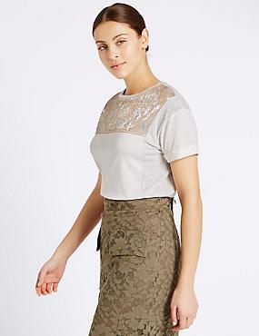 Gold Foil Panel Short Sleeve T-Shirt, IVORY MIX, catlanding