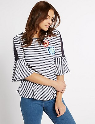 Pure Cotton Striped Peplum T-Shirt, WHITE MIX, catlanding
