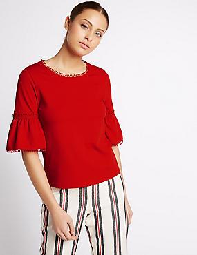 Flared Sleeve 3/4 Sleeve T-Shirt, RED, catlanding