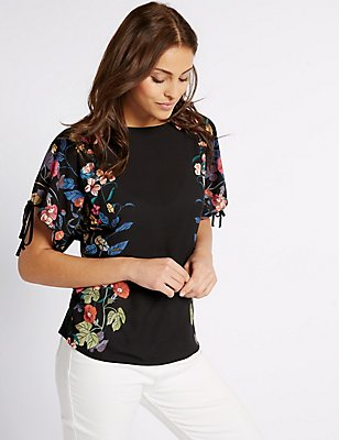 Mirror Floral Print Tie Sleeve T-Shirt, BLACK MIX, catlanding