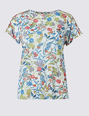 Floral Print Piping Detail T-Shirt, IVORY MIX, catlanding