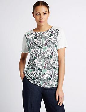 Cotton Blend Pineapple Print T-Shirt, IVORY MIX, catlanding