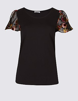 Devore Flute Short Sleeve T-Shirt, BLACK MIX, catlanding