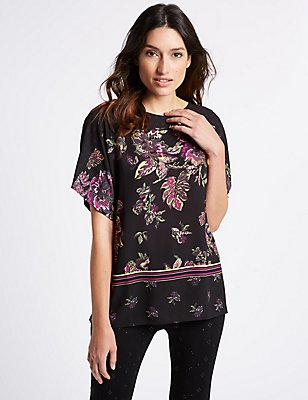 Floral Print Slash Neck Half Sleeve T-Shirt, PINK MIX, catlanding