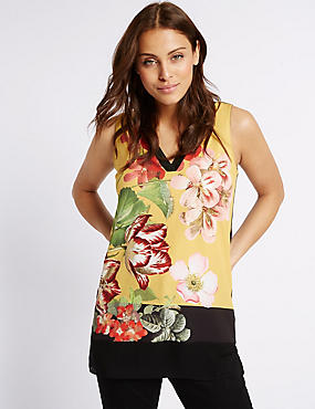 Floral Print V-Neck Sleeveless Tunic Top, YELLOW MIX, catlanding