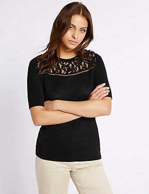 Geometric Lace Panel Half Sleeve Jersey Top, BLACK, catlanding