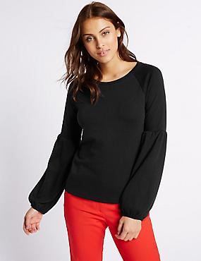 Cotton Blend Bell Sleeve Jersey Top, BLACK, catlanding
