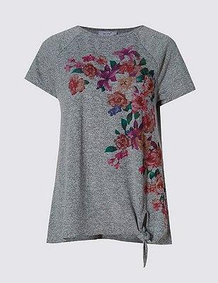 Loose Fit Floral Print T-Shirt, GREY MIX, catlanding