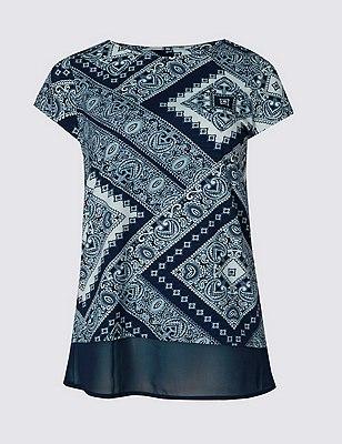 Loose Fit Paisley Print T-Shirt, NAVY MIX, catlanding