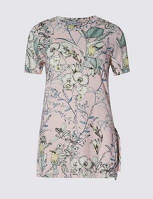 Loose Fit Floral Leaf Print Top, PINK MIX, catlanding