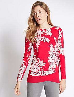 Long Sleeve Printed Jersey Top, POPPY MIX, catlanding