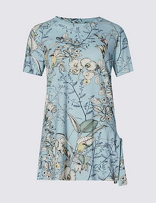 Loose Fit Floral Leaf T-Shirt, BLUE MIX, catlanding