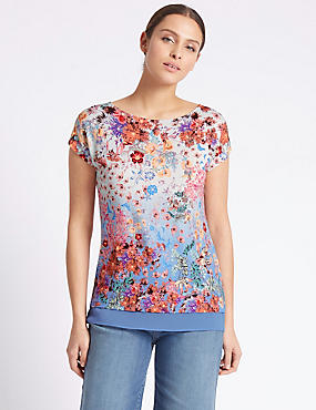 Beaded Floral Print Short Sleeve Tunic, BLUE MIX, catlanding