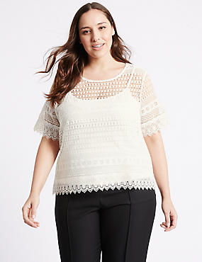 PLUS All Over Lace Short Sleeve Jersey Top, IVORY, catlanding