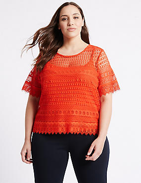 PLUS All Over Lace Short Sleeve Jersey Top, BRIGHT ORANGE, catlanding