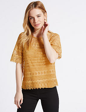 PETITE All Over Lace Half Sleeve Jersey Top, YELLOW, catlanding