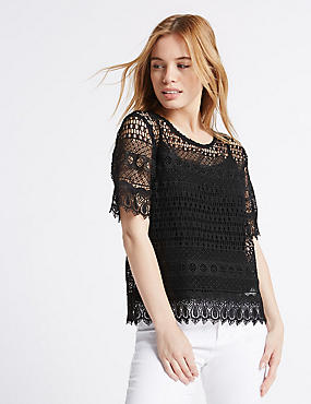 PETITE All Over Lace Half Sleeve Jersey Top, BLACK, catlanding